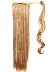 Flaxen Length 60CM The New Velcro Mixed Color Long Straight Air Wig Horsetail(Color 12/613)
