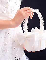 "Flower Basket Satin Lace 8 3/5"" (22 cm) Faux Pearl Bow 1"