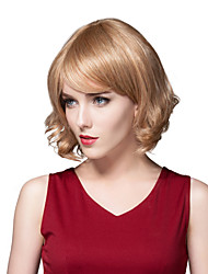 Charming Trendy Short Fluffy Virgin Remy Hand Tied-Top Capless Hair Woman's Wig