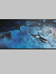 Large Hand-Painted Modern Abstract Landscape Oil Painting On Canvas One Panel With Frame Ready to Hang