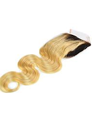 08inch-20inch Светлый блонд (#613) Полностью ленточные / Изготовлено вручную Естественные кудри Человеческие волосы закрытие