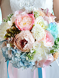 Fleurs de mariage Rond Roses / Lis / Pivoines Bouquets Mariage / Le Party / soirée MulticolorePolyester / Satin / Organza / Fleur séchée
