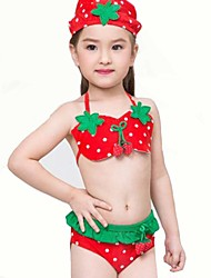 Girl's Summer  Strawberry Lace Skirt Printing Swimming Swimming Cap  Bathing Suit