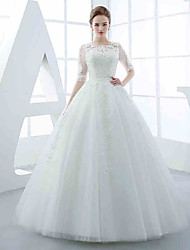 A-line Wedding Dress Floor-length Jewel Tulle with Appliques / Beading / Sash / Ribbon