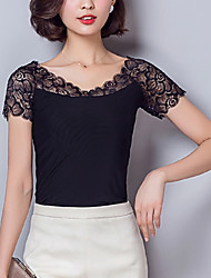Women's Patchwork Black Blouse,Sexy/Plus Size Lace Mesh Embroidery Elegant V Neck Short Sleeve