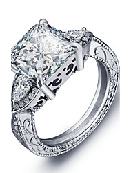 Luxurious Engagement Classic Square Diamond 925 Sterling Silver Rings Women Wedding Jewelry