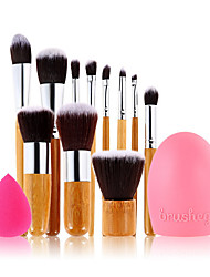11pc Bamboo Handle and​ Nylon Hair Cosmetic Makeup Brush Set+Cleaning Egg And Small Size Makeup Sponge