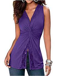 Europe Sexy Fashion Sleeveless T Shirt Chest Knot Knitting Stitching Lace Personality Long Vest