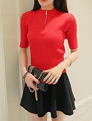 Damen Pullover - Einfach Baumwolle Mittel Kurzarm