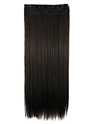 peruca de cabelo em linha reta extensão do cabelo sintético 64 centímetros de alta temperatura comprimento do fio preto-castanho