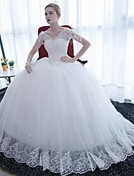 Ball Gown Wedding Dress-White Floor-length V-neck Satin / Tulle