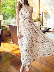 SINCE THEN Women's Sexy / Boho Print Swing Dress,Halter Maxi Polyester