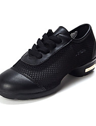 Non Customizable Women's Dance Shoes Dance Sneakers Leather Flat Heel Black / Blue / Red