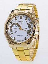 Casal Relógio de Moda Quartz Relógio Casual Lega Banda Relógio de Pulso Dourada