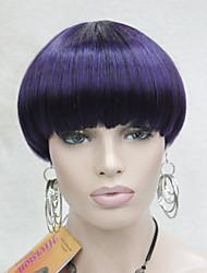 centre de la mode peau dot top violet mix bob noir style champignon perruque avec une frange