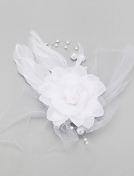 Women's Flower Girl's Feather Imitation Pearl Chiffon Headpiece-Wedding Special Occasion Fascinators 1 Piece