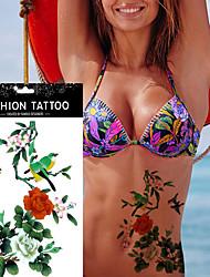 5pcs fleur autocollant oiseau étanche autocollant de tatouage temporaire pour outil de maquillage sexy d'art des femmes du corps