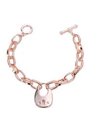 Gold Lock Pendant Chain & Link Charm Bracelet