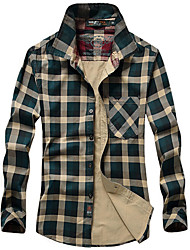 Men's Long Sleeve Shirt,Cotton Casual / Work / Formal / Sport Plaids