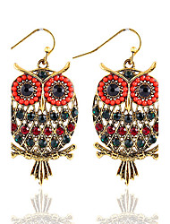 Bohemian Beads Popular New Color Rhinestones Hollow Owl Earrings
