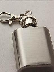 Vintage Miniature 1 Ounce Stainless  Steel Liquor Flask Key Chain