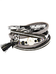 Fashion Women 3 Rows Pearl&Stone Set Wrap Leather Bracelet Christmas Gifts