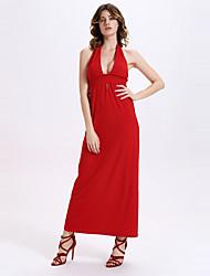 Women's Sexy Neck Hanging Backless Maxi Dresses