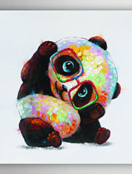 Hand Painted Oil Painting Animal Wear Glasses of the Panda with Stretched Frame 7 Wall Arts®