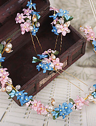 Women's Brass / Imitation Pearl / Resin Headpiece-Wedding / Special Occasion / Outdoor Headbands / Hair Pin 4 Pieces