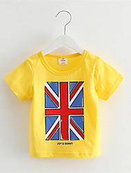 2016 Boys Sports Clothing Union Flag Printed 100% Cotton Short Sleeve Casual T-shirt Holiday Street Wear