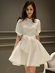 Women's Cute Solid A Line Dress,Shirt Collar Above Knee Polyester