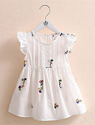 Hot Girls Dress Children's Clothing White Ruffle Sleeve Dress Students Wear Fashion Dress Cotton Leisure Dress