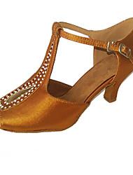 Chaussures de danse(Marron / Blanc) -Non Personnalisables-Talon Bottier-Satin-Latine / Salsa