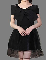 Girl's Black / Pink Dress,Solid Polyester Summer