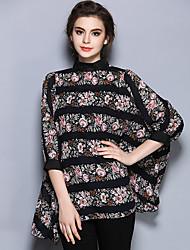 Mulheres Blusa Casual Vintage / Simples Verão,Estampado Preto Poliéster Gola Alta Manga ¾ Fina