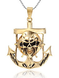 Men's Pendant Necklaces Pendants Statement Necklaces Gold Plated 18K gold Skull / Skeleton Punk Statement Jewelry Gold JewelryParty Daily
