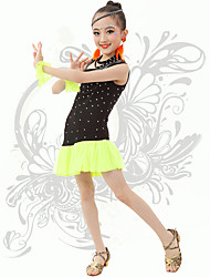 Latin Dance Children's Fashion Performance Spandex Rhinestones Dresses