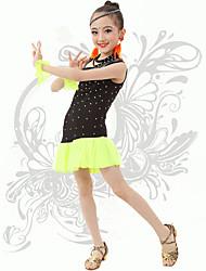 Latin Dance Children's Fashion Performance Spandex Rhinestones Dresses