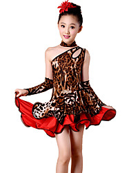 Danse latine Robes Enfant Spectacle Elasthanne Polyester Léopard 4 Pièces Sans manche Taille haute Robe Gants Tour de Cou