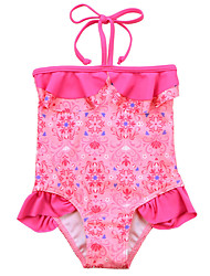 Cute One Piece Girls Baby Tankini Halter Swimsuit Bikini Swimwear 1-7Y Kids Floral Swimming Costume Beachwear