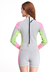Women's 2mm Dive Skins Wetsuit Skin Shorty Wetsuits Waterproof Ultraviolet Resistant Tactel Diving Suit Long Sleeve Diving Suits Shorts-