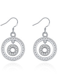 Concise Silver Plated Clear Crystal Round Design Drop Earrings for Party Women Jewelry Accessiories