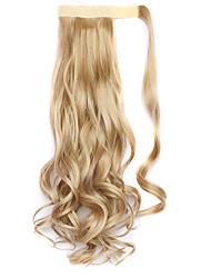 peruca cor dourada 45 centímetros sintética fio de alta temperatura encaracolado rabo de cavalo 25