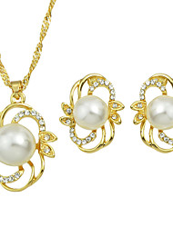Gold Silver Plated Big Imitation Pearl Jewelry Set