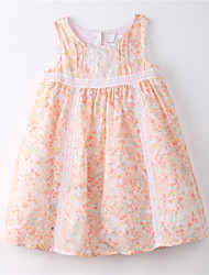 Girl's Floral Dress,Cotton Summer Orange