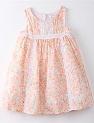 Menina de Vestido Floral Algodão Verão Laranja