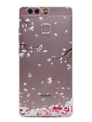 tpu matériau couleur prune motif de fleur étui de téléphone souple pour huawei p9 / p9 Lite