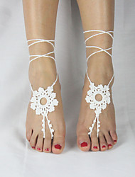 Women's Flower Crochet Cotton Sandals Circle Chain Anklet Barefoot Sandals