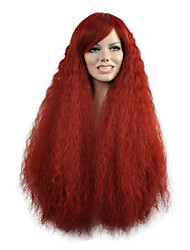 Natural Wave Long Length Red Color Popular Synthetic Wigs For Woman