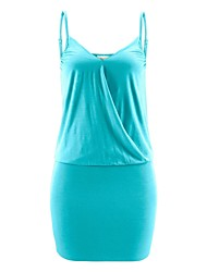 Mulheres Vestido Bandagem Sensual Sólido Mini Com Alças Poliéster